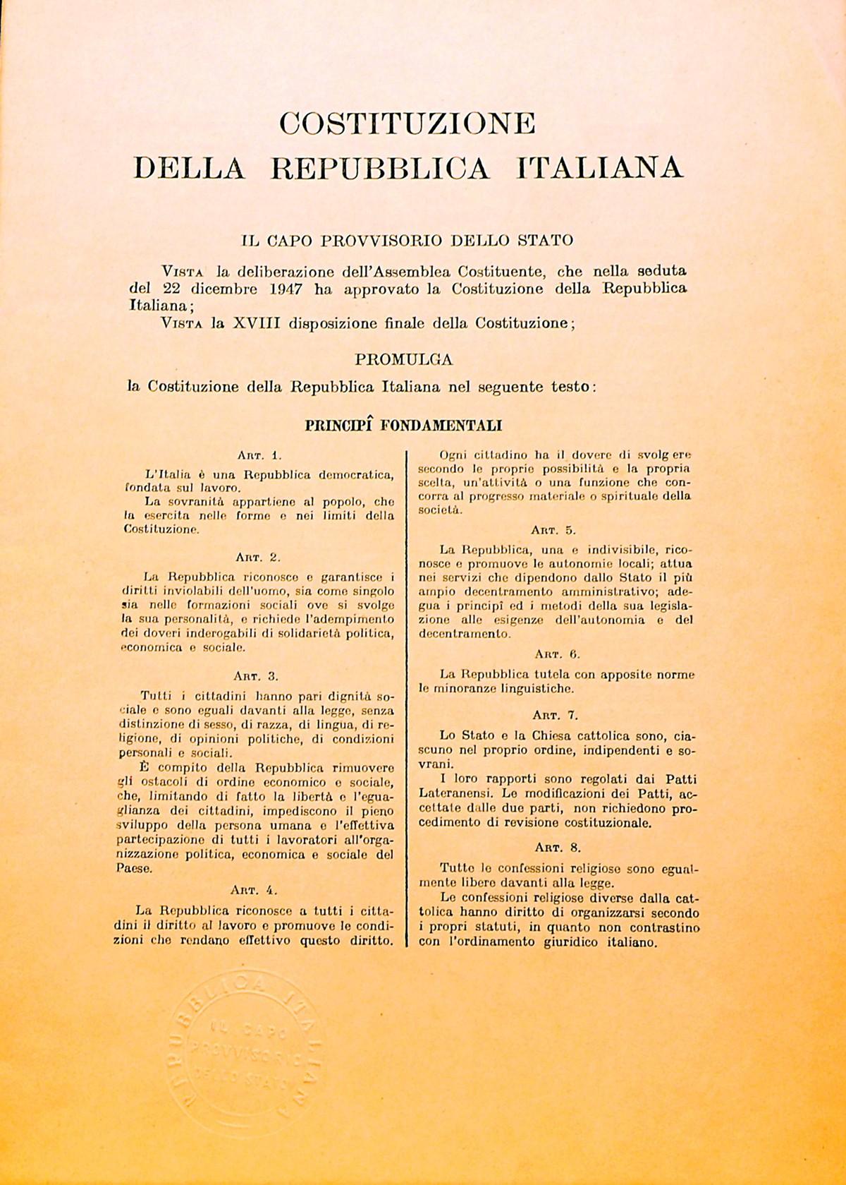La costituzione della repubblica italiana for Costituzione parlamento italiano